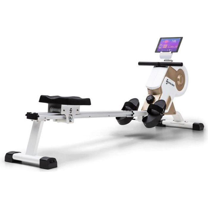 Rameur magnétique - Capital Sports Stream M1 - 105 cm - Ecran LCD - 8 niveaux - Blanc