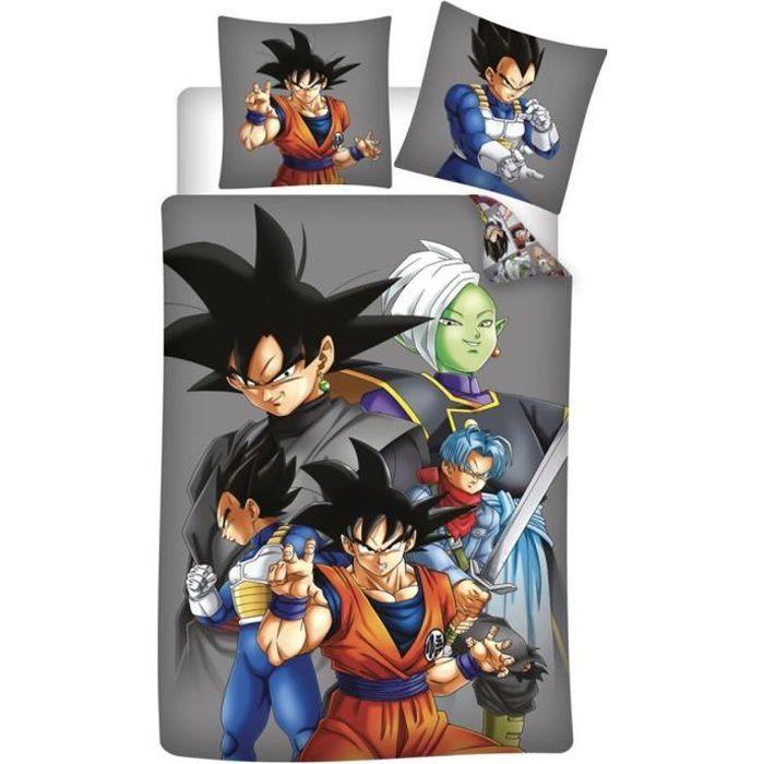 Dragon Ball Z - Parure de lit enfant coton 57 fils 1 place - Housse de Couette 140x200 cm et une Taie d'oreiller 65x65 cm.