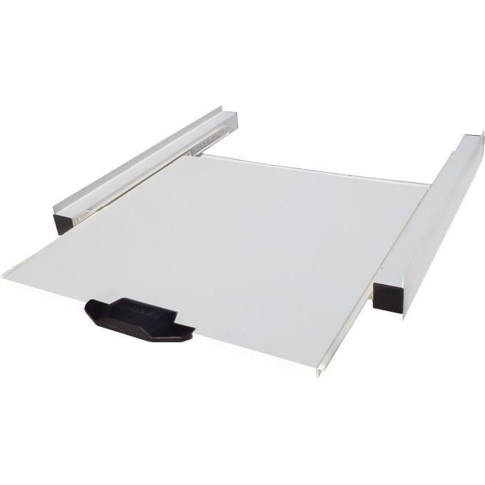 MELICONI 00696 Kit de superposition metallique pour lave linge et sèche linge avec tablette coulissante en bois melamine