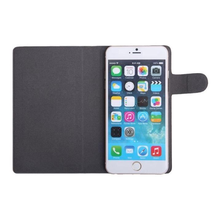 WE Etui pour smartphone 5,5 - - Effet peau de pêche - Noir