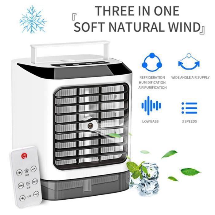 Climatiseur Portable Mini Refroidisseur D'air avec 3 Vitesses, 7 LED Couleurs avec télécommande