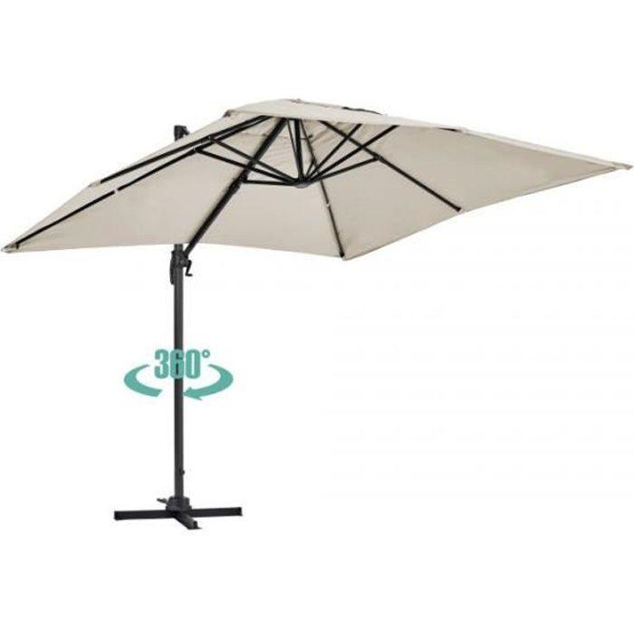 Parasol déporté rotatif, structure en aluminium, 2x3m modèle Amalya Ecru