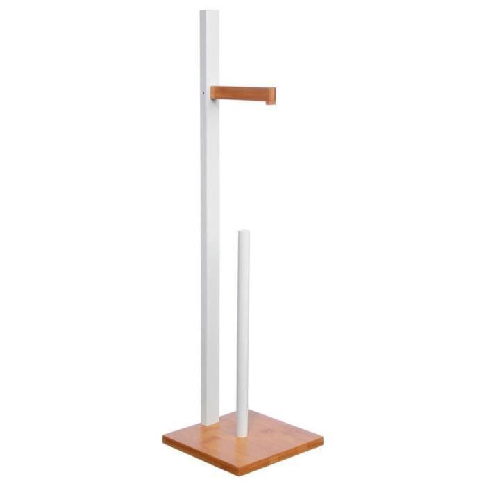 Porte Papier WC -Bambou- 71cm Blanc