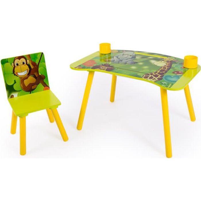 Ensemble table et chaise motif de jungle