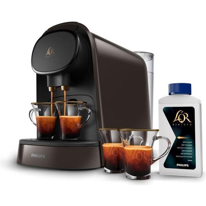 PHILIPS L'OR Barista LM8012/71 Machine à café à capsules double espresso + 2 tasses + détartrant + 9 capsules offertes  - Café Moka