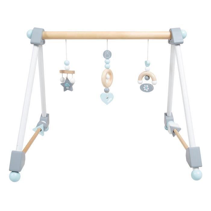 ROBA Portique d'Eveil Roba en bois -miffy-, arc pour bébé, éléments de jeu réglables en hauteur avec anneau de dentition