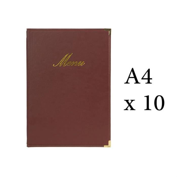 Lot 10 protège-menu Classique format A4 couleur bordeaux - Porte menu hôtel restaurant - Securit 5 Bordeaux
