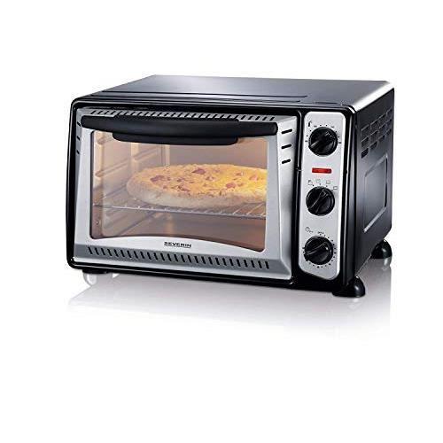 SEVERIN Mini-four gril (1 500 W, Grille et plaque de cuisson incluses, 20 L), Argent-noir, TO 2034 TO 2034