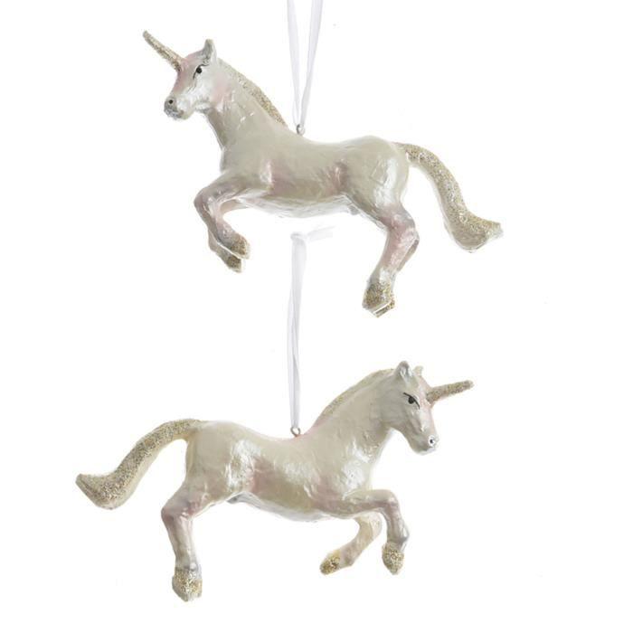 Décoration de Noël à licorne suspendue de TRIXES - Ornement en résine - Effet de perle avec paillettes dorées