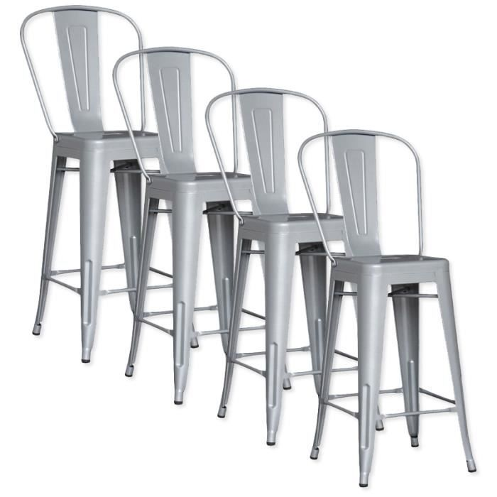 lot de 4 chaises de bar m tal loft laqu gris achat vente tabouret de bar gris cdiscount. Black Bedroom Furniture Sets. Home Design Ideas
