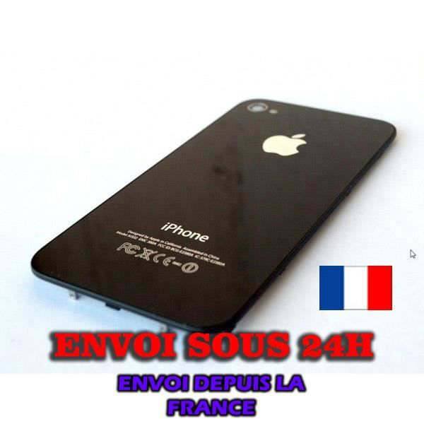 coque kit vitre arriere dos iphone 4 neuf noir stock en. Black Bedroom Furniture Sets. Home Design Ideas