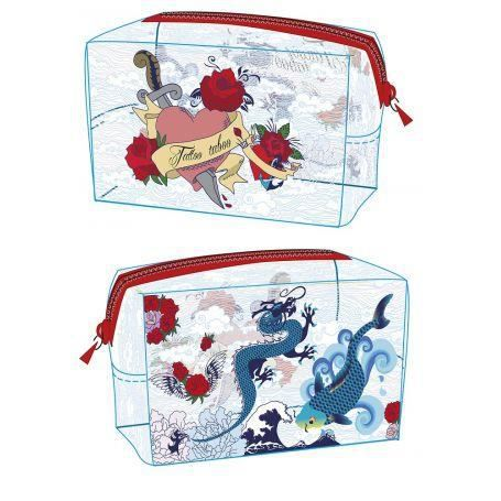 trousse rectangulaire tatoo transparente achat vente trousse de toilette 3438100361696