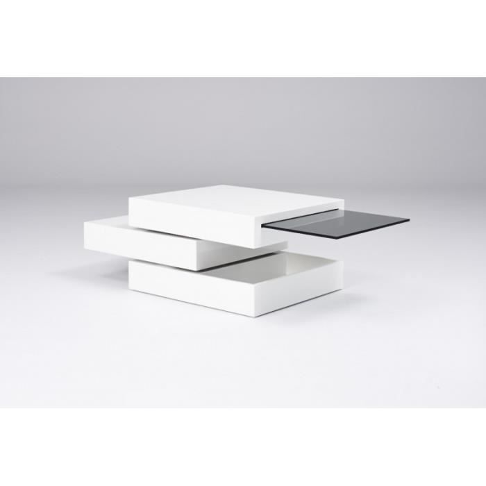 Table basse laqu blanc design cubiline blanc achat vente table basse t - Table basse design discount ...