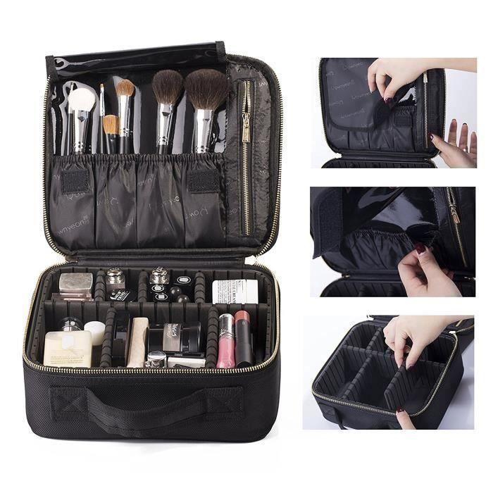 Coffret Sac Trousse Cosm/étique Organiseur pour Pinceaux de Maquillage Vernis /à Ongles BEGIN MAGIC Train Malette de Maquillage Professionnel Beauty Case 3 couche