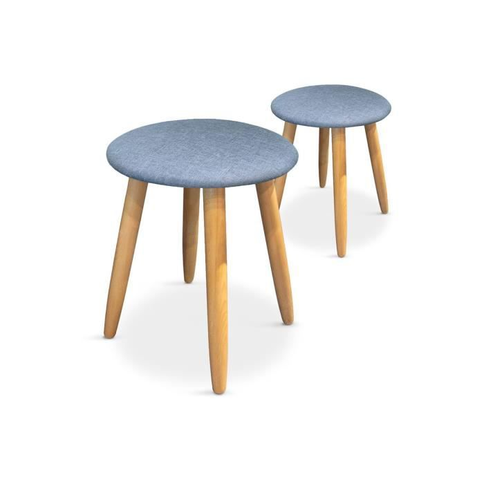 lot de 2 tabourets style scandinave tissu bleu kobe achat vente tabouret cdiscount. Black Bedroom Furniture Sets. Home Design Ideas