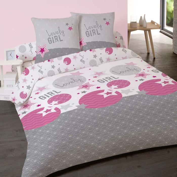 housse de couette 220x240cm et 2 taies lovely girl 100 coton achat vente housse de couette. Black Bedroom Furniture Sets. Home Design Ideas