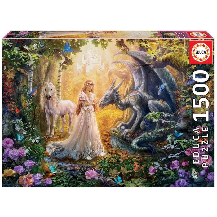 PUZZLE EDUCA Borras Puzzle 1500 piéces Dragon, Princesse