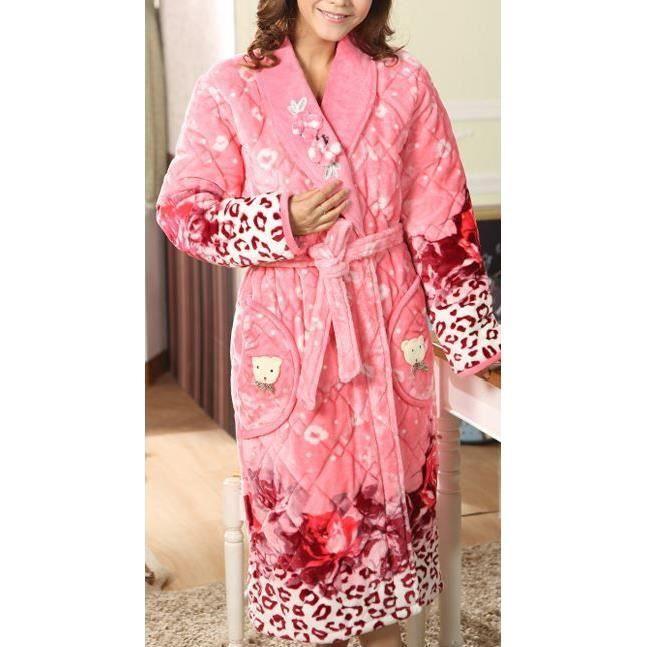 Robe De Chambre Femme Matelassée Rose Fleurs Achat Vente