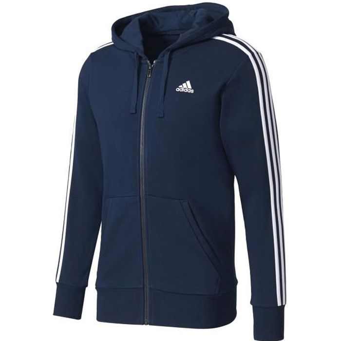 Adidas Performance Veste Essentials 3 Stripes Fz Hood French Terry Bleu Veste à Capuche Homme Multisports