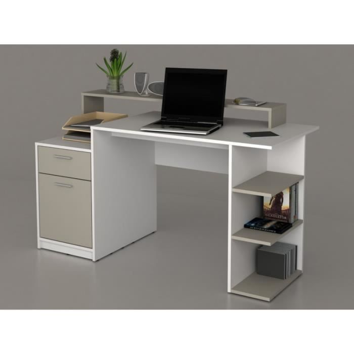 bureau avec rangements zacharie iii blanc et taupe achat vente bureau bureau avec. Black Bedroom Furniture Sets. Home Design Ideas
