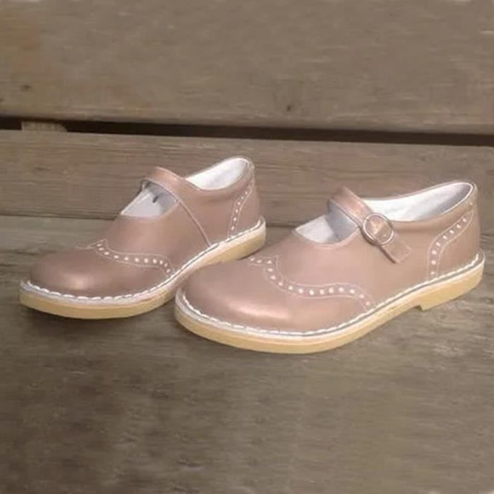 Femmes Flats Shallow Bouche Boucle Sangle plage Chaussures simples Casual spartiates Rose