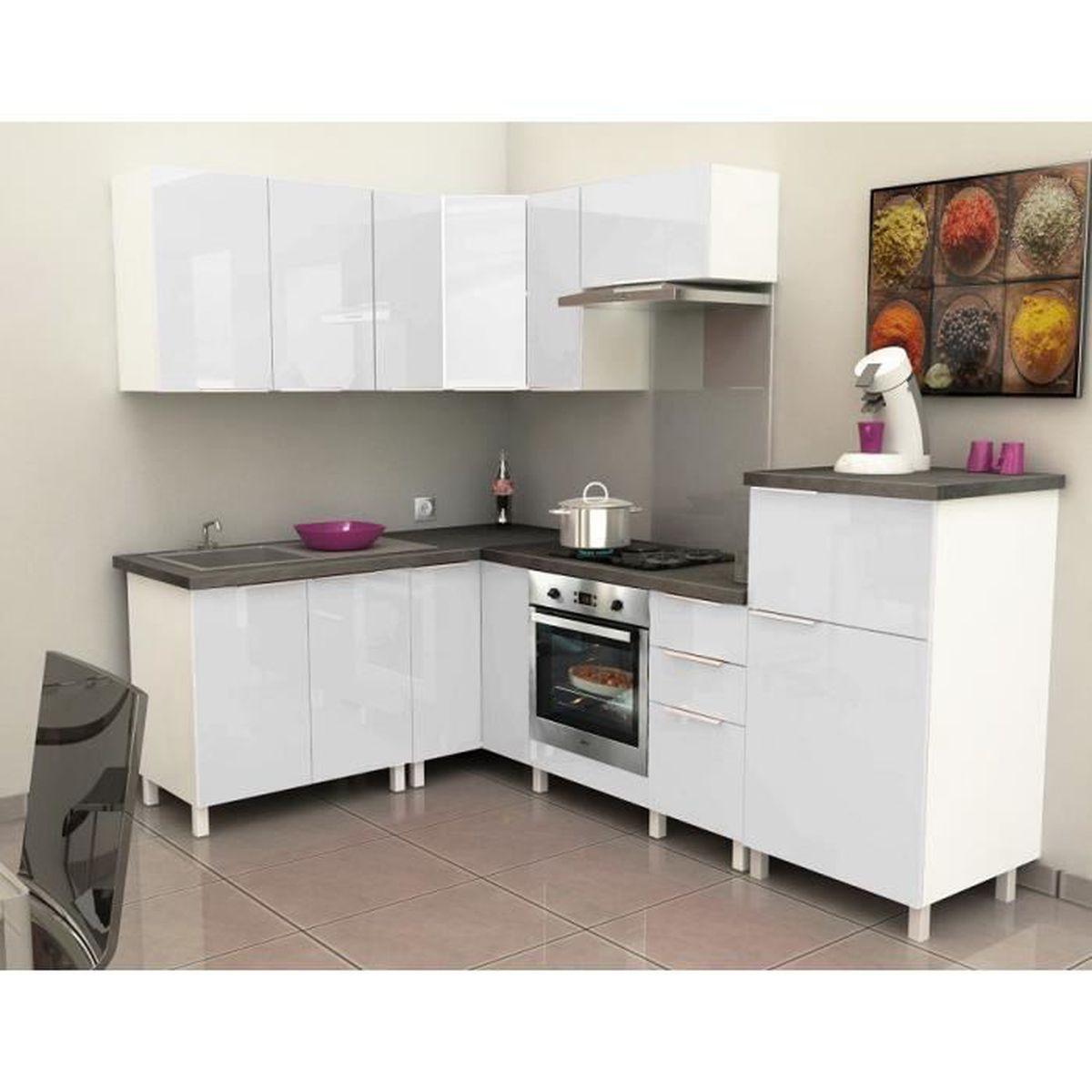 Meuble de cuisine angle haut - 14cm - Blanc - Élément séparé