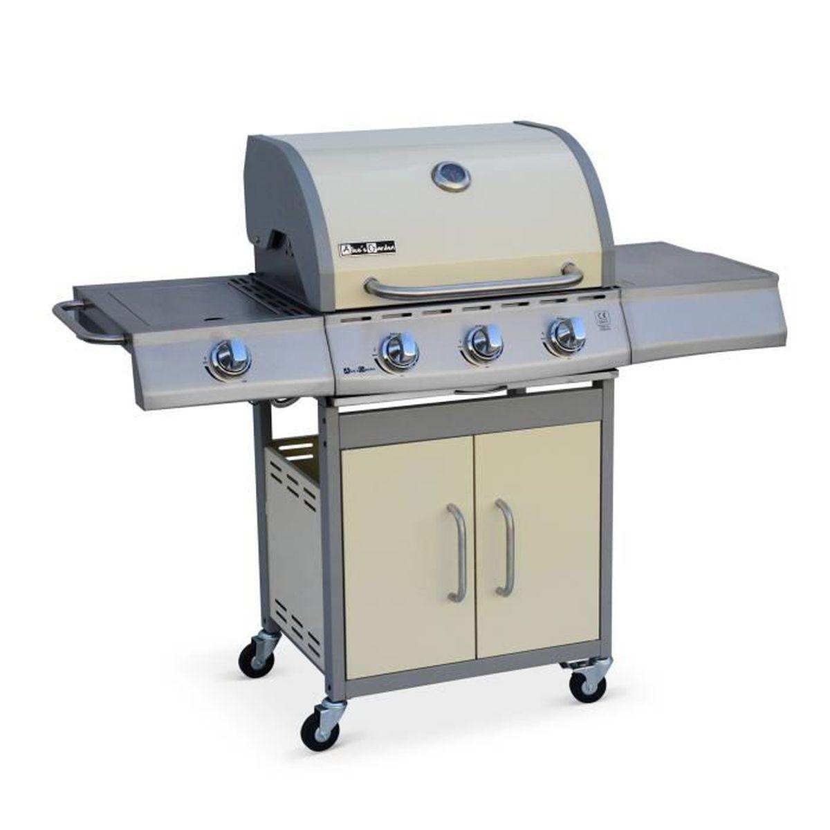 Barbecue Gaz Et Plancha barbecue au gaz richelieu ivoire, 4 brûleurs dont 1 feu