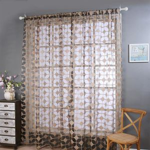RIDEAU yzw-4995-Lattice Sheer Curtain Tulle Window Treatm