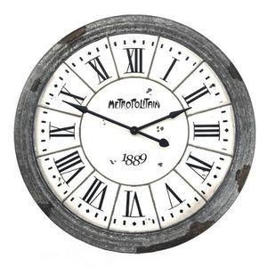 HORLOGE - PENDULE Grande Horloge Métal Style Zinc Murale Industriel
