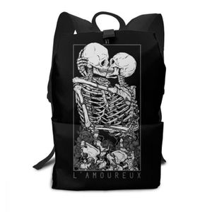Unisexe Sac à dos multi fonctions style Squelette Crâne Imprimer Double Fermeture
