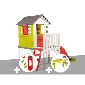 MAISONNETTE EXTÉRIEURE Cabane enfant Pilotis - Smoby + Sonnette + Table e