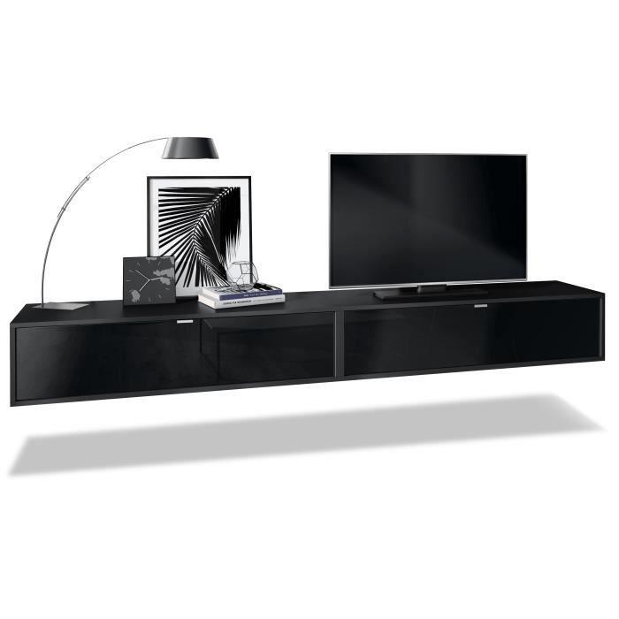 Ensemble de 2 set meuble TV Lana 120 armoire murale lowboard 120 x 29 x 37 cm, caisson en Noir mat, façades en Noir haute brillance