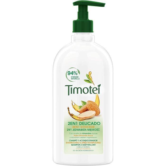 Timotei Shampoing Femme 2en1, Huile d'Amandes 100% d'Origine Naturelle, Idéal pour les cheveux normaux 750ml