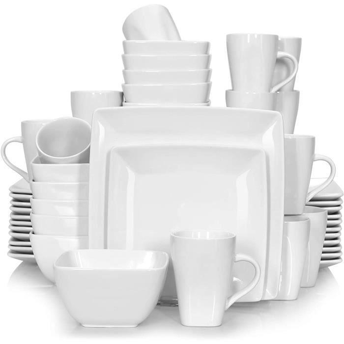 vancasso,Série Soho,Service Complet en Porcelaine Blanche, 48 pièces pour 12 Personnes,Assiette Carrée avec Bol à Céréales et Tasse