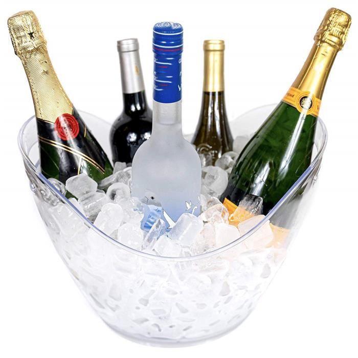 Grand Transparent 8L Transparent Noir Blanc Grand Seau à Glace Lingot Champagne SXY200109011CL