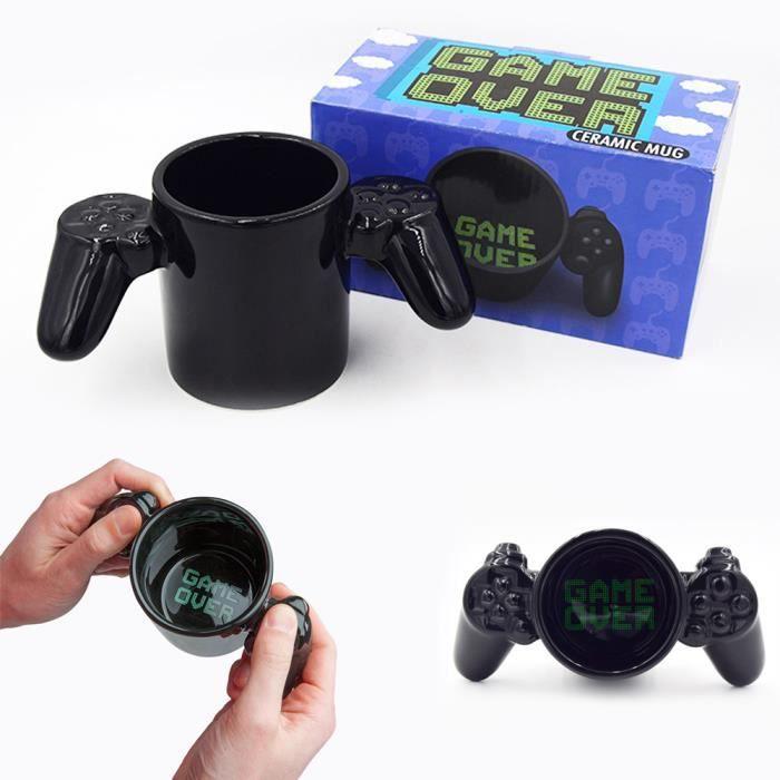Mug en Céramique Noir Forme de Manette de Jeu Créatif Tasse Café Lait Thé Cadeau Idéal Pour Adulte Enfant