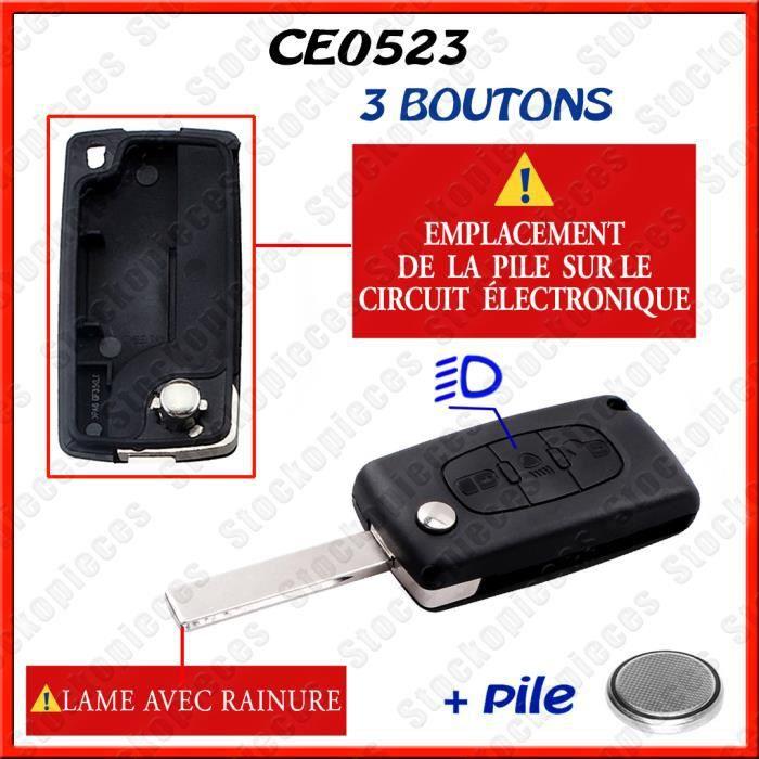 COQUE CLE PLIP TÉLÉCOMMANDE COMPATIBLE CITROEN C1/C2/C3/C4/C5/C8 XSARA PICASSO BERLINGO /Bouton Phare / CE0523 lame avec rainure