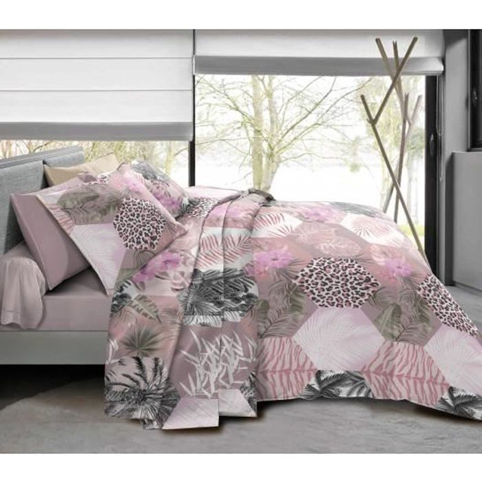 Pack complet Jungle Style Poudré housse de couette pour lit 140 x 190 cm 100% coton / 57 fils/cm²