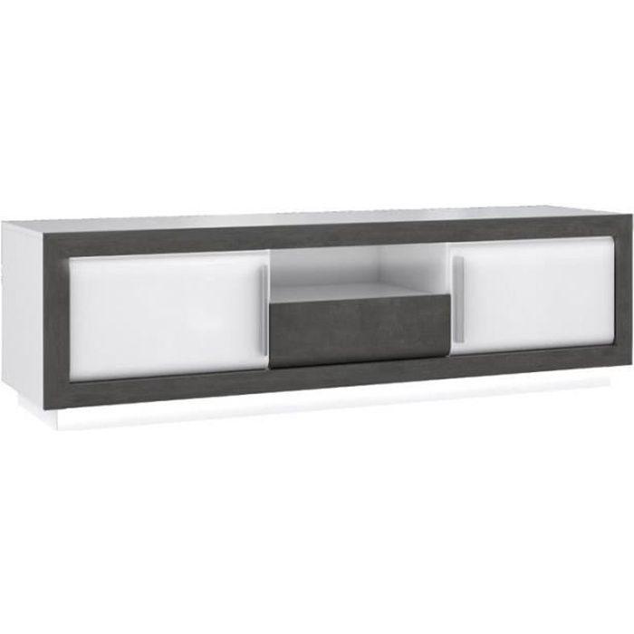 Meuble TV bois blanc et gris, lumière LED - CALVI
