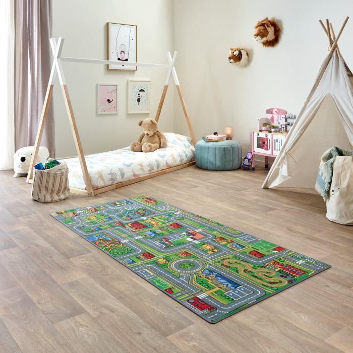 Tapis de Jeu Enfant 95x200cm, Playcity - Tapis Circuit Voiture - Lavable - Antidérapant - Carpet Studio