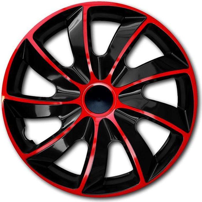 Enjoliveur 13 - QUAD universels noir-rouge NRM 4pcs
