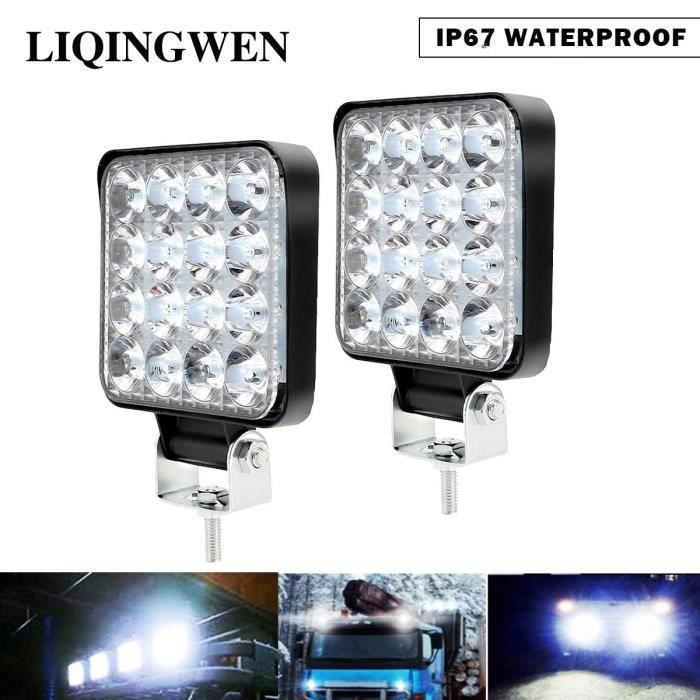 2PCS Phare de Travail LED 48W, Projecteur LED Voiture 12V Etanche IP 67, Feu de Travail LED pour Voiture Camion Tracteur SUV Bate