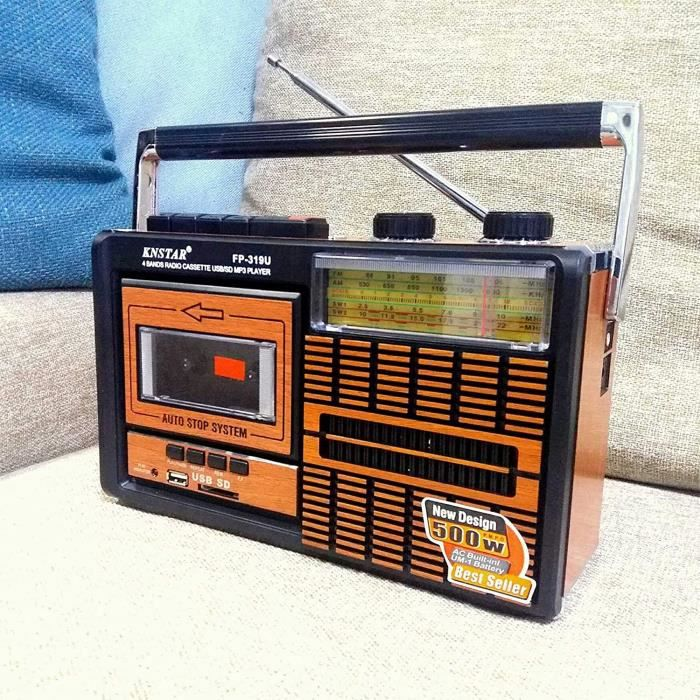 WUBAILI Lecteur Et Enregistreur De Cassette Radio FM Rétro Portable avec Réglage Analogique Radio AM/SW, Lecteur De Carte USB/TF, Al