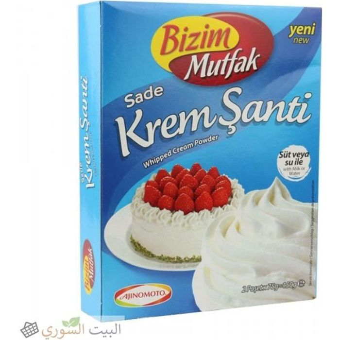 BIZIM MUTFAK Sade KREM SANTI PLAIN - Crème Chantilly en Poudre - Poudre de crème fouettée - 150g