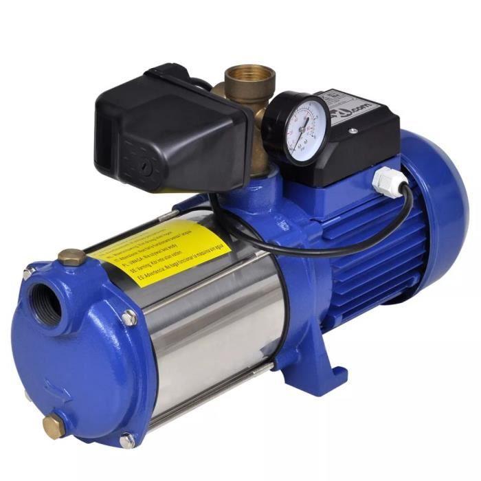 Rui DA® Pompe à eau de surface bleue avec manomètre 1 300 W 5 100 l/h