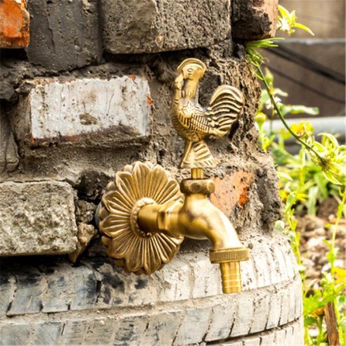 Robinetterie cuisine,Robinet de machine à laver en laiton et bronze fini, robinet d'extérieur de jardin avec - Type Chicken Style