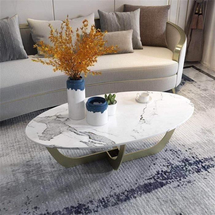 Tables de jardin Side Table Moderne Minimaliste Fer Forgé Petit Salon Ovale Table d'appoint, Simple en marbre Naturel Me 100942