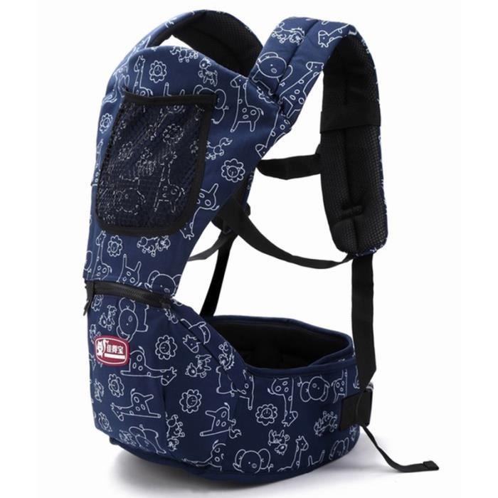 Porte bébé 3-48 mois bleu mode Tabouret bébé à double épaule Nouveau modèle Multifonction Sac de rangement pratique Porte bébé