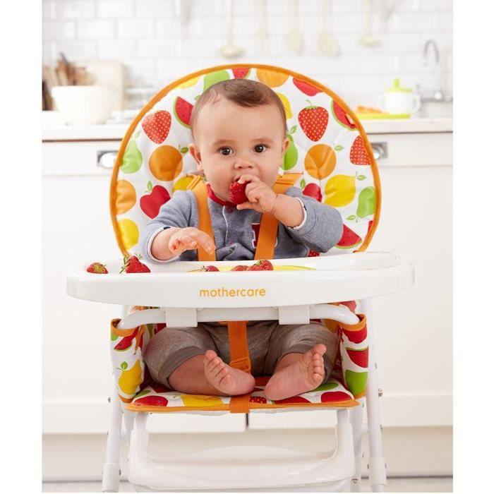 Chaise haute imprimé fruits blanc
