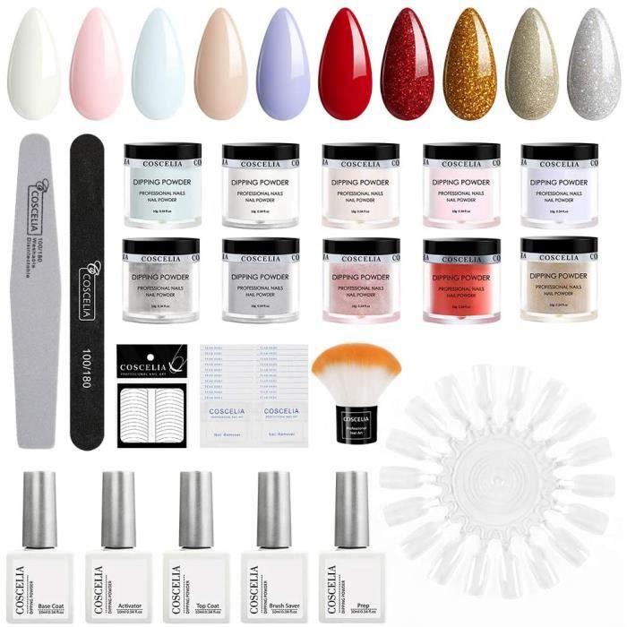 Coscelia Kit 10pcs Poudre Acrylique Dipping Powder Pas Besoin de Lampe Cure Paillettes Décors Base Coat Top Coat Accessoire Manucur